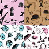 Four seamless pattern with retro theme Royalty Free Stock Photography