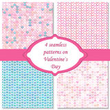 Four seamless pattern on valentines day. Pink and blue color. Endless texture can be used for printing onto fabric paper Stock Photos