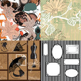Four seamless pattern with vintage objects Stock Photos