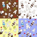 Four seamless patterns with bears Royalty Free Stock Image