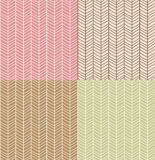 Four seamless patterns with hand drawn chevron line grid, vector Royalty Free Stock Photos