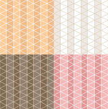 Four seamless patterns with hand drawn line grid pattern Stock Image