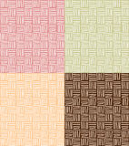 Four seamless patterns with hand drawn line grid Stock Image