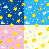 Four seamless patterns with happy stars Stock Images