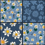 Four seamless patterns with koi carps and water Stock Image