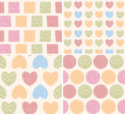 Four seamless patterns with ornamental line drawings, hearts. Four patterns with ornamental line drawings, hearts, squares and circles, vector illustration Stock Image