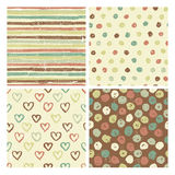 Four seamless patterns in rustic style Royalty Free Stock Images