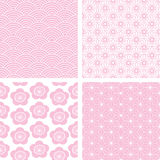 Four seamless pink Japanese backgrounds Royalty Free Stock Images