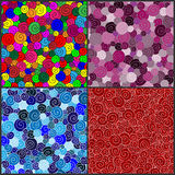Four Seamless Retro spirals pattern Royalty Free Stock Image