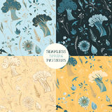 Four seamless spring patterns with plants, birds and butterflies. Four vector seamless spring patterns with trees, grass, flowers, leaves, buds, birds vector illustration