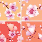 Four  seamless texture with branches Stock Photos