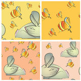 Four  seamless texture with rabbit and bees Royalty Free Stock Photo