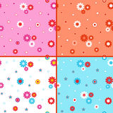 Four seamless vector patterns with daisies Stock Photography