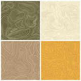 Four Seamless Vector Topographic Map Patterns Royalty Free Stock Photos