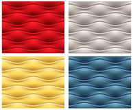 Four seamless wavy patterns. Red, blue, gold, and silver seamless wavy patterns. Clipping mask Stock Photo