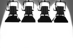 Four searchlights. Four searchlights on a white background stock photography