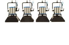 Four searchlights. Four searchlights on a white background stock photos