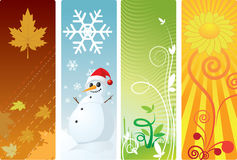 Four season. Illustration and weather sky Royalty Free Stock Photos