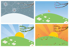 Four Season backgrounds. A landscape during all four seasons Stock Photo