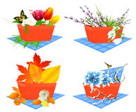 Four season baskets Royalty Free Stock Image