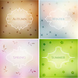 Four season blurred smooth backgrounds set with frames and eleme Royalty Free Stock Images