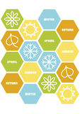 Four season buttons with icons Stock Photo