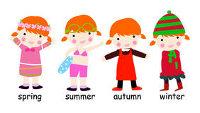 Four season children Stock Photography