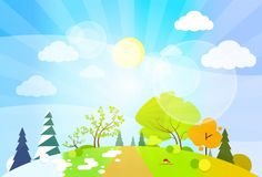 Four season concept landscape flat design vector Royalty Free Stock Images