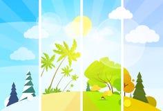 Four season concept landscape flat design vector Royalty Free Stock Images