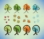 Four season doodle trees Stock Images