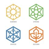 Four season Hexagon icon  with sun sign for summer flower sign for spring snow sign for winter and Maple leaf for autumn vector de. Sign Stock Photography