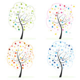 Four season. Made of heart tree. Spring, autumn, fall, summer tree vector illustration Stock Image
