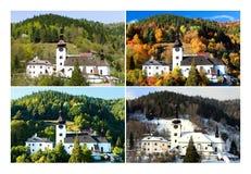 Four season in old mining village. Four season folder in old mining village in Slovakia. Historic church in Spania Dolina. Spring, summer, autumn and winter Royalty Free Stock Photos