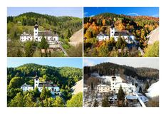 Four season in old mining village. Four season folder in old mining village in Slovakia. Historic church in Spania Dolina. Spring, summer, autumn and winter Stock Photos