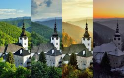 Four season in old mining village. Four season folder in old mining village in Slovakia. Historic church in Spania Dolina. Spring, summer, autumn and winter Stock Photography