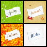 Four season postcard Stock Image