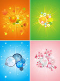 Four season set,  illustration Royalty Free Stock Photography