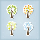 Four season tree icons Stock Photo