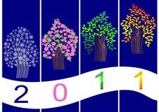 Four season tree. vector. All-year seasonal banner. tree symbol. vector stock illustration