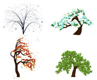 Four season trees. Vector silhouette of autumn, spring, summer and winter season tree isolated on the white background Stock Illustration