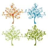 Four season trees vector illustration