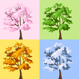 Four season trees. Vector illustration. Stock Photography
