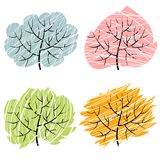 Four season trees, illustration of abctract trees Royalty Free Stock Photography