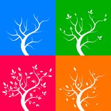 Four season trees,  illustration Stock Image