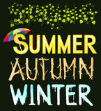 Four season typography - spring - summer - autumn - winter Stock Photos
