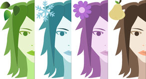 Four season woman Stock Photography