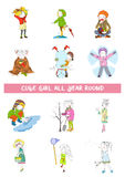 Four season of year calendar with girl. Vector set Stock Image