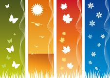 Four Seasonal Backgrounds. All elements are on separate layers and can be easily edited Royalty Free Stock Photo
