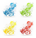 Four seasonal floral colorful set isolated Stock Photos