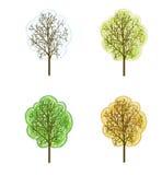 Four seasonal trees Stock Photos